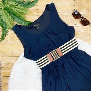 BCX • Sleeveless Navy Belted Dress